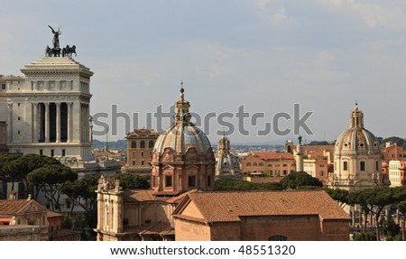 Rooftops Roman forum and other famous building.