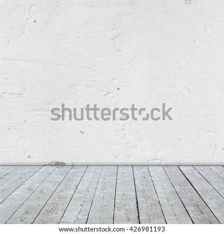 Room interior with gray wooden flor and white  plaster wall