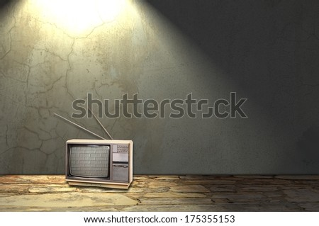 Room interior with old television