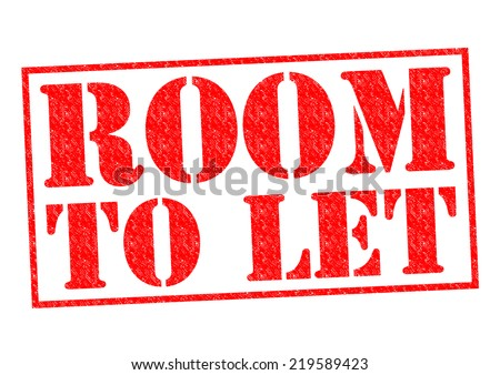 ROOM TO LET red Rubber Stamp over a white background.
