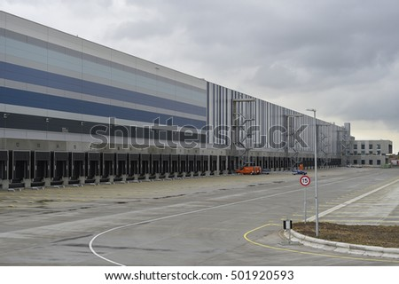 ROOSENDAAL - THE NETHERLANDS - OCTOBER 20: Primark Roosendaal distribution center under construction on industrial Borchwerf ll delivers 400 new jobs on October 20, 2016.