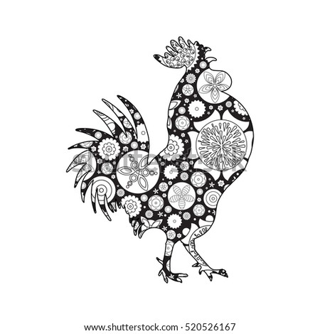 New Coloring Books For Adults : Decorative stylized rooster plate gzhel stock vector