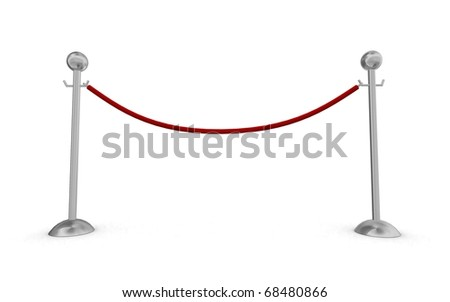 Rope barrier over white background