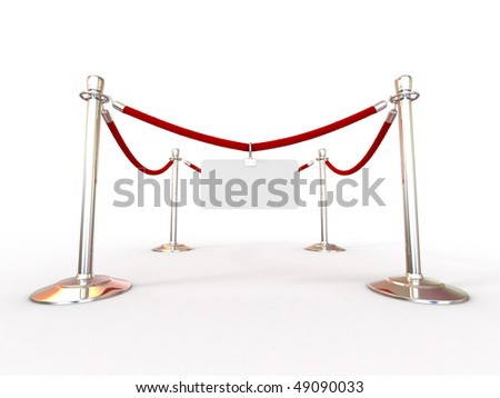 Rope fence with empty plate. 3d
