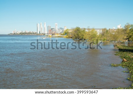 Rosario on the bank of Parana river, Argentina
