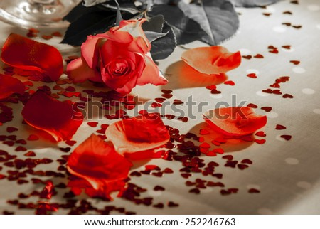 Roses, champagne, petal and heart shaped confeti, some effects used to remove certain colours from image and median noise reduction also used on some images to produce a faded look,