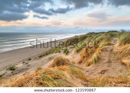 Rossbeigh beach dunes at sunset, Ireland