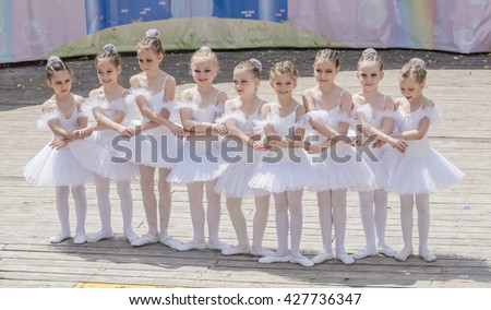 "Rostov-on-Don, Russia- May 22,2016: Performance the young ballerinas School-Studio Alla Dukhova ""Todes"" on the stage of the park V. Cherevichkin"