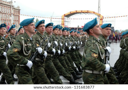 ROSTOV-ON-DON, RUSSIA - MAY 9: The 60th anniversary of Victory Day (WWII) - soldiers marching at Theater Square, May 9, 2005 in Rostov-on-Don, Russia