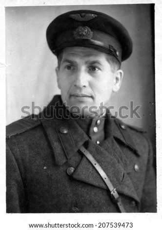 Rostov-on-Don, the USSR - CIRCA 1940s: the photo made in the USSR, represents the young man in the form of the sergeant of the Soviet Army, circa 1940s.