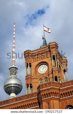 Rotes Rathaus - city hall and Fernseturm, Berlin, Germany
