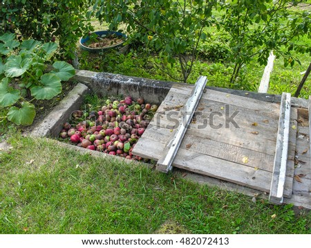 Rotting fruit and other organic waste into compost pit at the edge of a country site