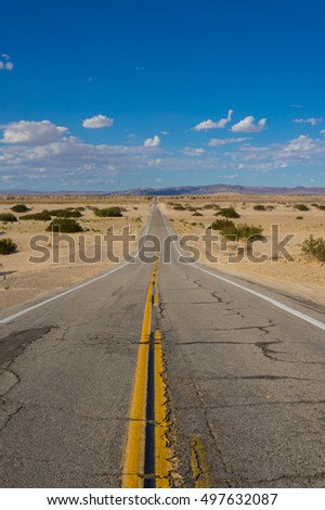 Rough road leads into the desert wilderness of southern California.