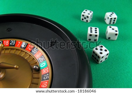 roulette and cubes gamble casino win or loose bet game