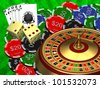 Roulette casino cards and chips - stock photo