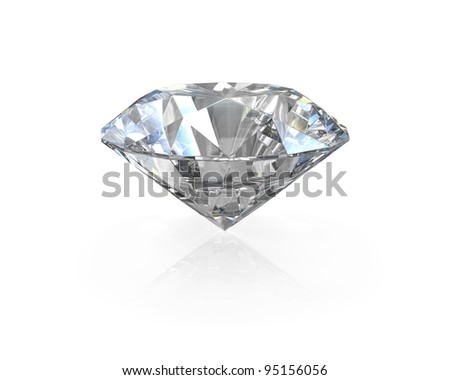 Round, old european cut diamond, isolated on white background