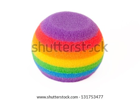Round rainbow sponge, isolated on white