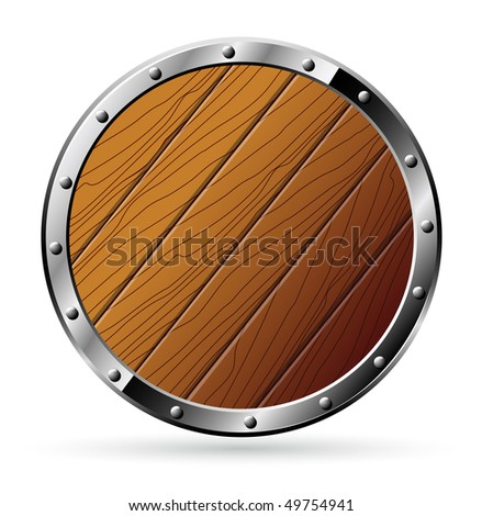Round shield from wood and steel - isolated on white - raster image.