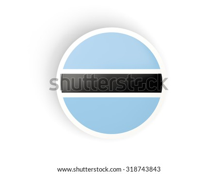 Round sticker with flag of botswana isolated on white