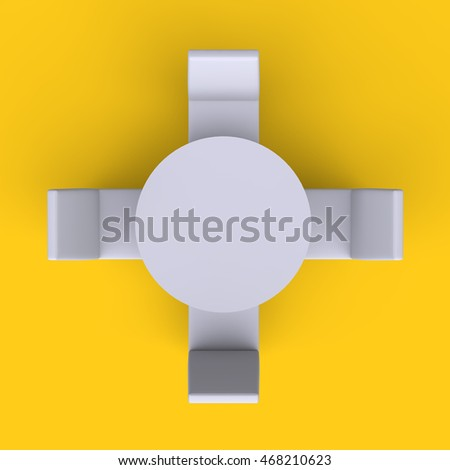Round Table With Chairs On Yellow Empty Floor Background. Top View. 3d  Render.