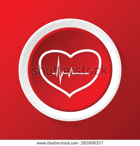 Round white icon with heart and cardiogram, on red background