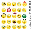 round yellow icons depicting various human emotions. - stock vector