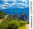 Roussanou Monastery of Meteora Monasteries in Trikala region, Greece during summer season. - stock photo