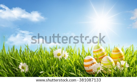 Row of Easter Eggs with Daisy on Meadow