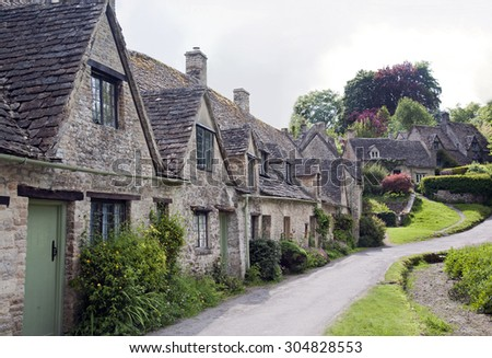 Row of Old English Cottages in the Cotswolds