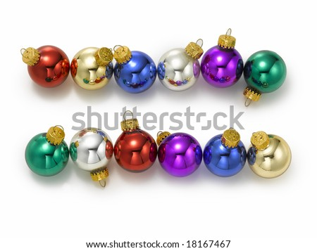 rows of colorful Christmas ornaments in a row on white background