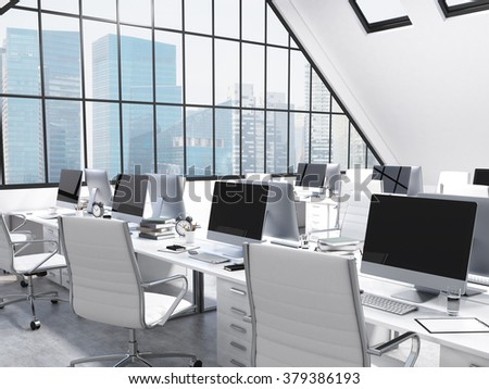 Rows of tables facing each other leading to the panoramic window in an office in an attic. Computers and stuff on them, white chairs. Singapore view. Concept of a modern office. 3D rendering