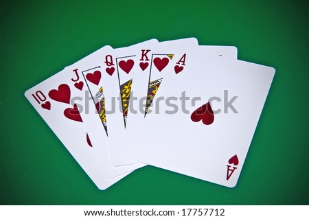 Royal flash - cards on green background
