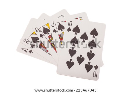 Royal flush. Playing cards isolated on white background