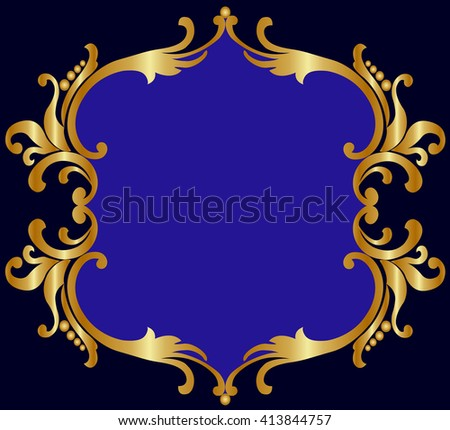 Royal gold openwork frame on a black background