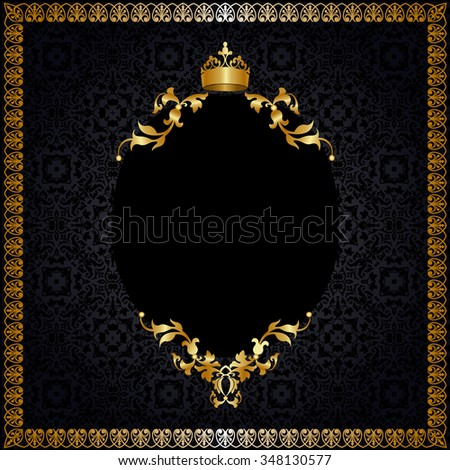 Royal golden frame with crown on black background