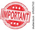 "Rubber stamp illustration showing ""IMPORTANT"" text - stock vector"
