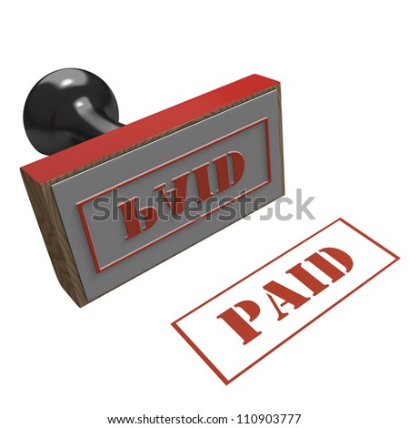 Rubber Stamp with message of Paid on a white background