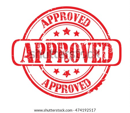 "rubber stamp with text ""approved"" on white, bitmap"