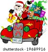 Rudolf driving Santa in a hot rod. - stock photo