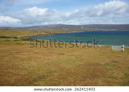 Rugged windswept coastline of East Falkland in the area around Port San Carlos in the Falkland Islands