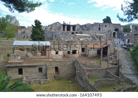 Ruined buildings of the ancient city of Pompeii Italy