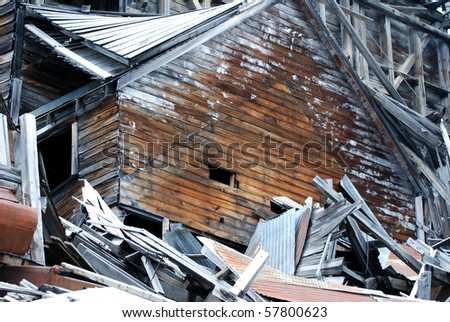 Ruined Gold Mine Building at Independence Gold Mine, Alaska - stock ...