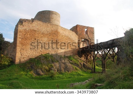 Ruins of a stone castle Krakovec from Czech Republic