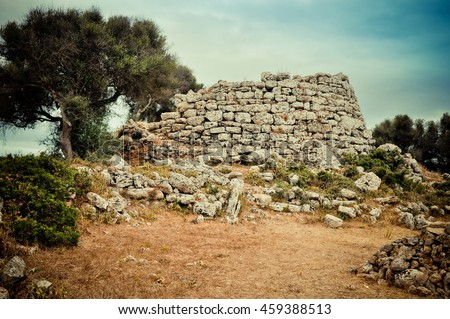 Ruins of talayot - prehistoric construction of the mysterious tribe lived on Balearic islands in Bronze Age.