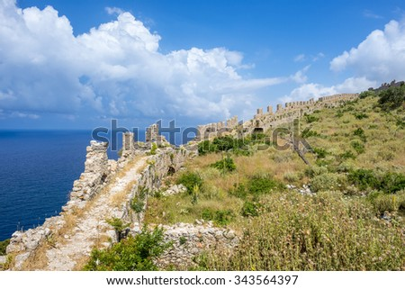 Ruins of the ancient Navarino castle, Peloponnesus (Greece)