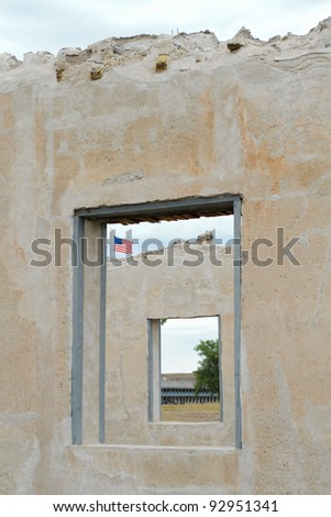 ruins of the historic Fort Laramie administration building