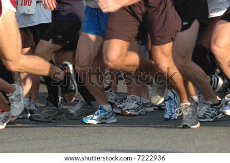 Runners' Feet at Start of Race