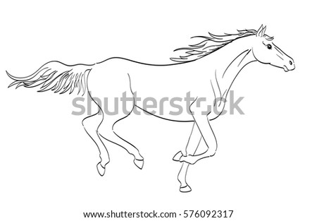 Horse vector hand draw sketch stock vector 382716991 shutterstock running horse outline in line art style raster illustration ccuart Images