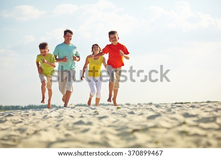 Running on sandy beach
