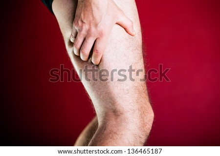 Running physical injury, leg pain. Healthcare and medical concept. Man having pain in muscle.